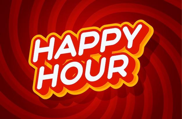 Happy hour czerwony i żółty szablon efektu tekstowego w stylu typu 3d