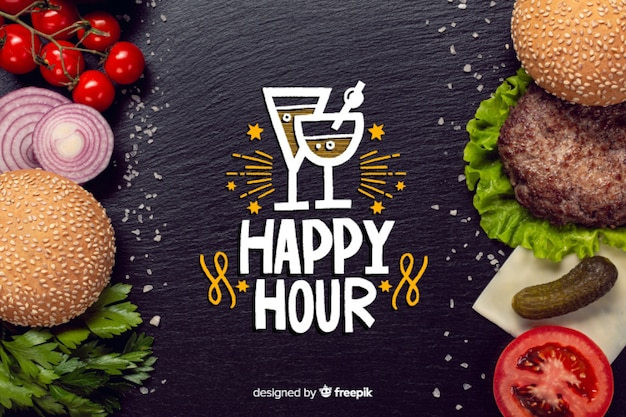 Happy hour napis na tablicy