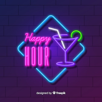 Happy hour neon znak przy koktajlu