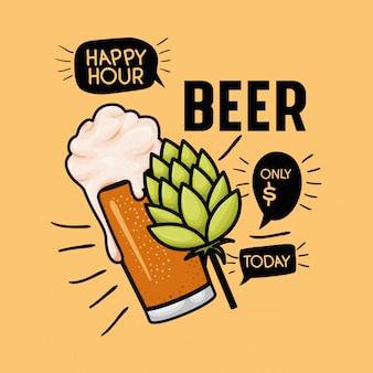 Happy hour piwa etykiety ze szkła i liści