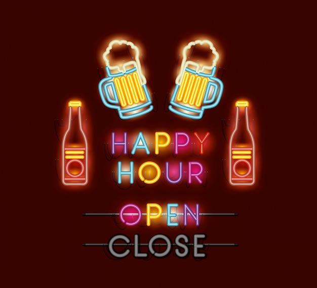 Happy hour z piwami czcionek neonów