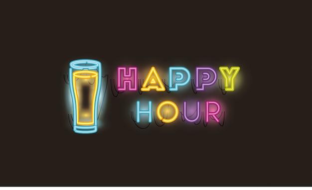 Happy hour z piwnymi słoikami neonów