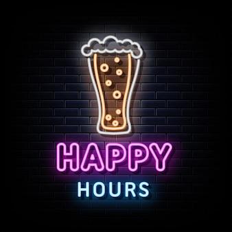 Happy hours neon znaki wektor szablon projektu neon znak
