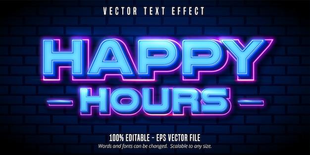 Happy hours text, edytowalny efekt tekstu w stylu neonowym