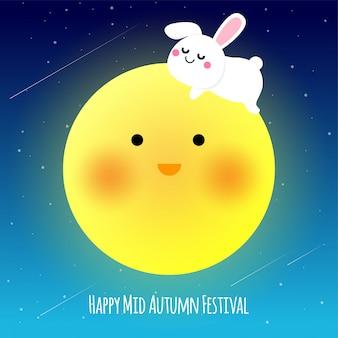 Happy illustraion festiwalu w połowie jesieni