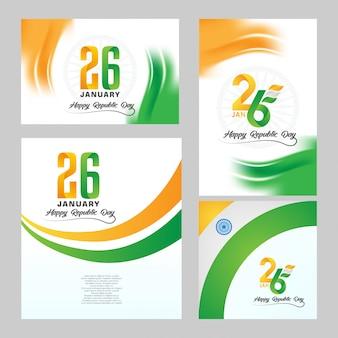 Happy indian republic day zestaw tła
