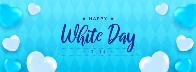 Happy japanese white day banner realistyczne serca na niebieskim rombowym wzorze