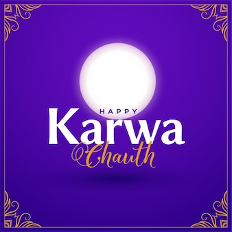 Happy karwa chauth ozdobna karta z księżycem
