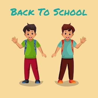 Happy kids wracają do szkoły.