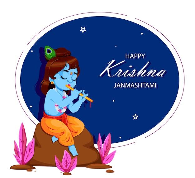 Happy krishna janmashtami lord kryszna grający na flecie