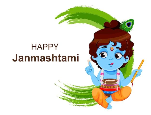 Happy krishna janmashtami sprzedaje małego pana krysznę z fletem i garnkiem