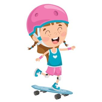 Happy little child skateboarding outside