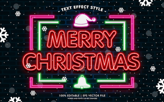 Happy merry christmas neon text efekty styl