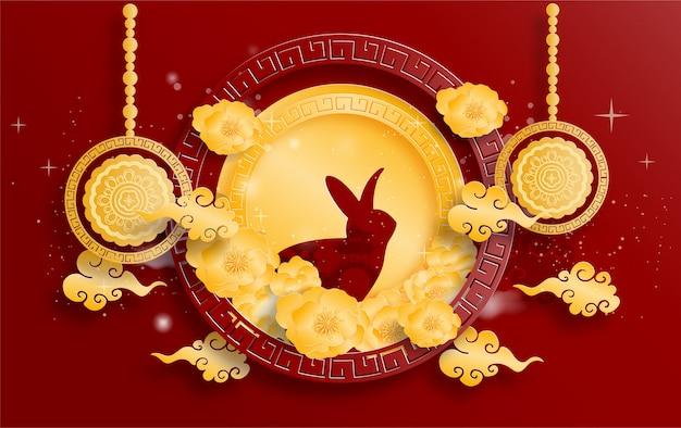 Happy mid autumn festival z królikiem i pełnią księżyca. .