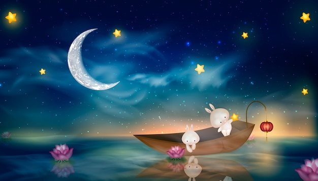 Happy mid autumn festival z księżycem