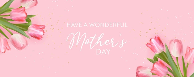 Happy mothers day banner realistyczny projekt kwiatów tulipanów