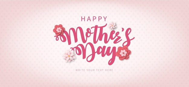 Happy mothers day frame with lettering and papercut wiosenne kwiaty