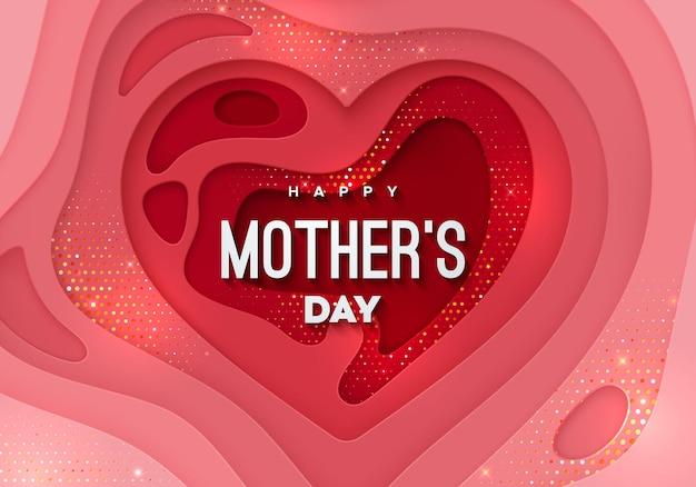 Happy mothers day znak na warstwowym papierze w kształcie serca z teksturą ze złotymi błyskotkami