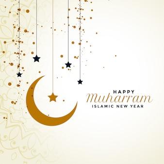Happy muharram pozdrowienia z księżyca i gwiazdy w tle