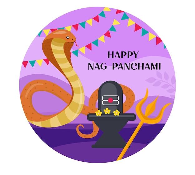 Happy nag panchami kartkę z życzeniami z kobrą królewską. festiwal węży w indiach. ilustracja wektorowa.