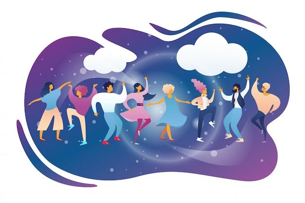 Happy people clubbing i dancing at night club