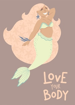 Happy plus size mermaid