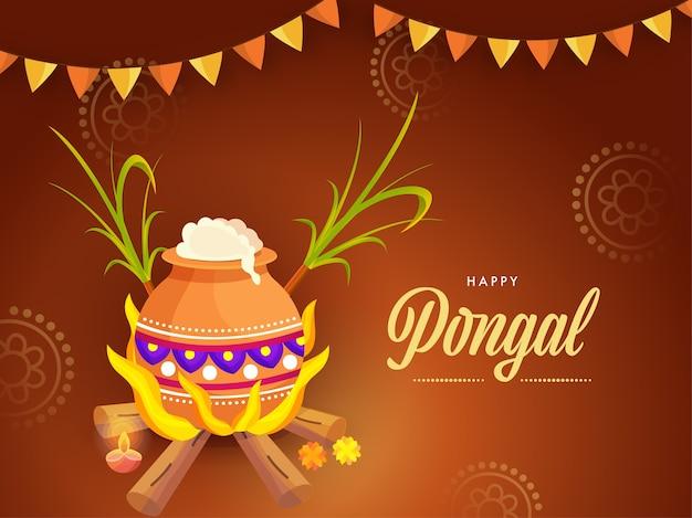 Happy pongal celebration concept z ryżu gotowanie gliny garnek na drewno opałowe