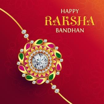Happy raksha bandhan greeting, indyjski festiwal miłości brata i siostry