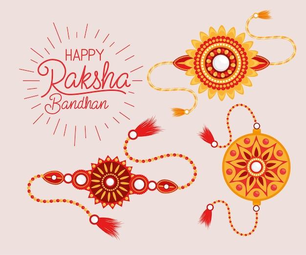 Happy raksha bandhan z zestawem opasek