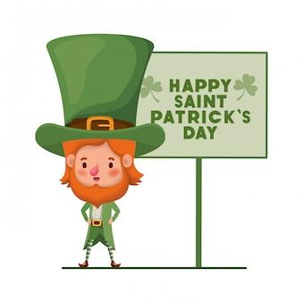 Happy saint patricks day label z charakterem leprechaun
