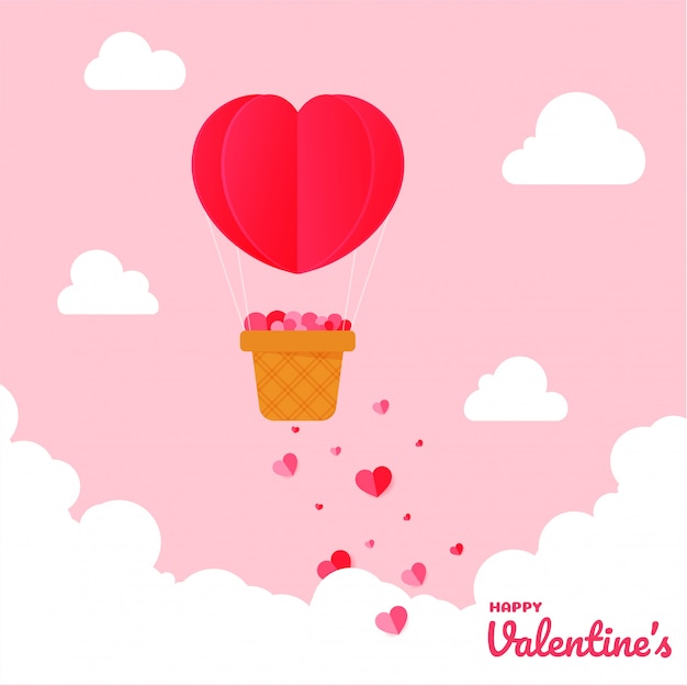Happy saint walentynki kartkę z życzeniami z balonem