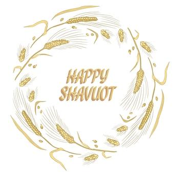 Happy shavuot pszenicy wieniec kartkę z życzeniami