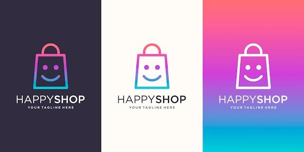 Happy shop, torba połączona z szablonem logo uśmiech twarzy,