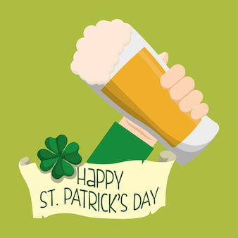 Happy st patricks day hand holding glass beer clover