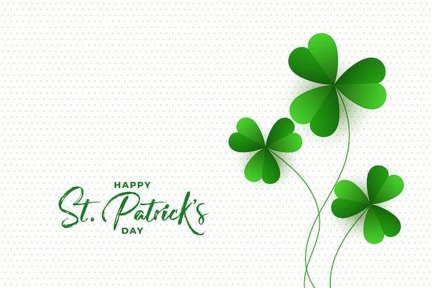 Happy st. patricks day koniczyna pozostawia tło