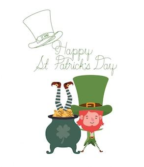 Happy st patricks day label z charakterem krasnoludków