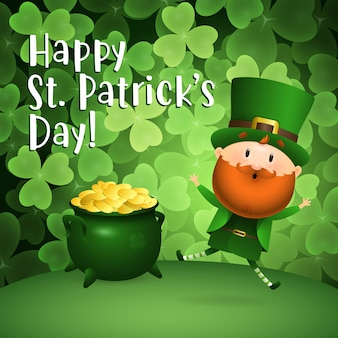 Happy st patricks day napis, leprechaun i garnek złota
