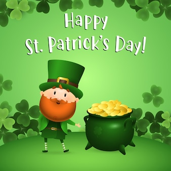 Happy st patricks day napis z leprechaun i garnek złota