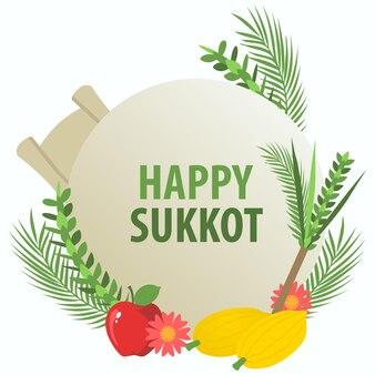 Happy sukkot dekoracyjny symbol na baner lub kartkę z życzeniami