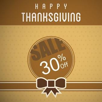 Happy thanksgiving day banner sprzedaż ribbon brown tle