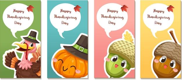 Happy thanksgiving day karty lub ulotki z indykiem, dynią i orzechami włoskimi