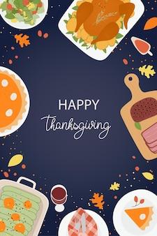 Happy thanksgiving day plakat z sałatką z pieczonej wołowiny z dynią z indyka ilustracja wektorowa płaskie