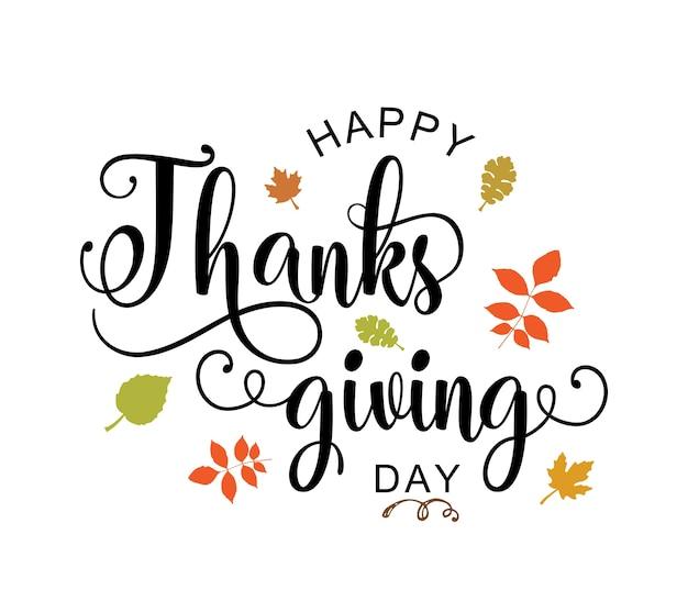 Happy thanksgiving ręcznie rysować typografii plakat. cytat z okazji święta