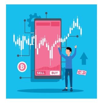 Happy trader na koncepcji inteligentnego telefonu