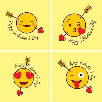 Happy valentine day kreatywny płaskim tle zestaw kart smiley
