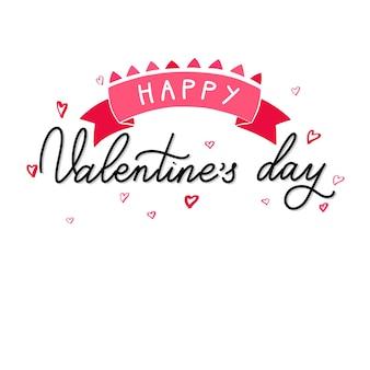 Happy valentine day tekst ze wstążką, odręczny tekst ozdobny wektor, kaligraficzna miłość napis