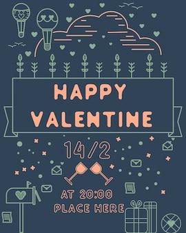 Happy valentine line art poster