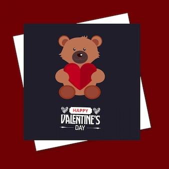 Happy valentine's day bear card