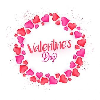 Happy valentine's day celebration z wieloma heart shapes stworzył krąg.