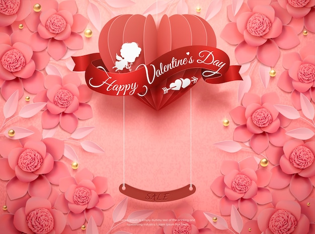 Happy valentine's day design z różowymi papierowymi kwiatami i wiszącym sercem w ilustracji 3d